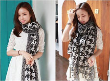 New Houndstooth Voile soft scarves Long  Wraps Beach Silk Scarf Shawl Wholesale