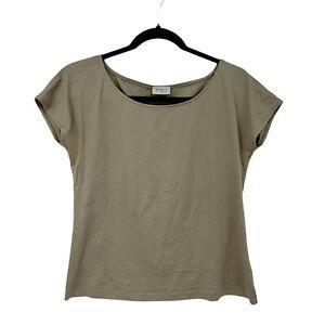 Akris Punto Size US 10 Black Tan Beige Short Sleeve Tee  Runs Small