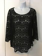 H&M Divided Long-Sleeve Black Lace Top Scoop Neck Size 6
