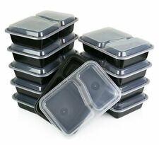 Green Direct 2 Compartment Lunch Box - Meal Prep Container with Lid Pack of 10