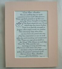 LOVE 1 ANOTHER Rings ANNIVERSARY VOWS Husband WEDDING Wife verses poems plaques