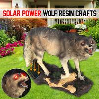 Solar Red Eyes Howling Wolf & Sensor Light Garden Ornament Office Decoration ✔☆