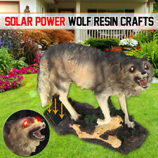 Solar Red Eyes Howling Wolf & Sensor Light Garden Ornament Office Decoration