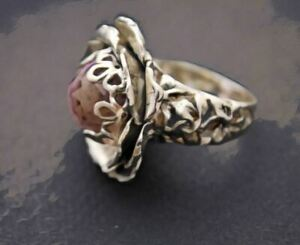 Ring Sterling Silver Pink Topaz Ball Quartz Ring Hand-sculpted Chic 380$ Sale