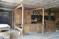 6' Natural Teak Wood English Elizabethan paneled Tudor Four Poster canopy Bed