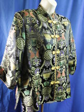 Traditional Chinese Jacket Coat 3/4 Sleeves Multi-Color Long Life Symbol MEMBER