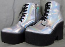 Hot Topic White Holographic Holo Platform Ankle Boot Shoes Size 9