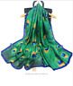 Fashion Women Peacock Feather Silk Scarf Hijabs Scarves Wraps Shawl Pashmina