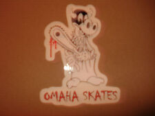 OMAHA SKATES THE CRAZY HAPPY BLOODY CHAINSAW COW DIE CUT SKATEBOARD STICKER