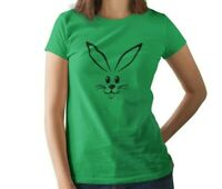 Ladies Bunny Face T Shirt Happy Easter Funny Cute Tee T-Shirt Holiday Humor Gift