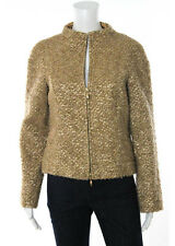 Escada Brown Gold Metallic Wool Knit Kurz Jacket Sz EUR 34 $1790 New RB770