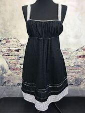 Calvin Klein Black Eyelet Summer Tank Dress White Silver Stripe Metallic 8 i
