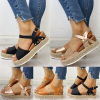 Womens Ankle Strap Flatform Wedge Shoes Espadrilles Open Toe Platform Sandals
