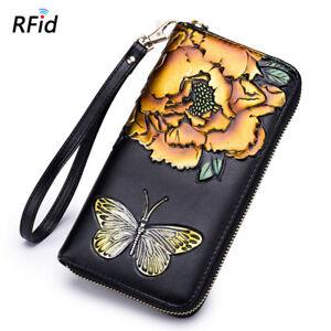 RFID Blocking Women's Leather Clutch Wallet Embossed Floral Ladies Long Purses