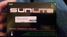 set of 2- Sunlite 20 x 1-3/8 inner tube 32mm Presta Valve