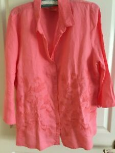 18 QUALITY LINEN NONI B EMBROIDERY BUTTONED DARK TANGERINE  3/4 SLEEVES NWOT $29