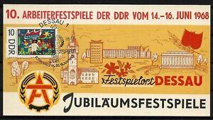 Gedenkblatt 10. Arbeiterfestspiele der DDR in Dessau 1968 NICHT im Katalog RARE