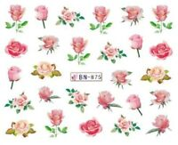 Nail Art Decals Transfers Stickers Valentines Pink Roses (BN875)