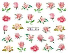 Nail Art Decals Transfers Stickers Flowers Pink Roses (BN875)