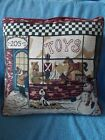 """Christmas Tapestry Toy Store Pillow 16"""" x 16"""" Bear Dog Rocking Horse Snowman"""