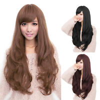 New Long Brown Curly Wavy Full Wigs Party Hair Cosplay Lolita Fashion Womens Wig