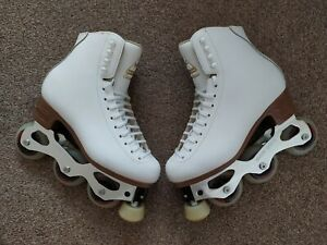 Jackson Classique with Snow White. Artistic Inline skates. Added Ice Blades.