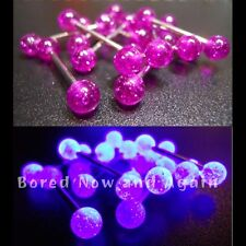 16g 16mm Surgical Steel Tongue Bar with UV Acrylic Balls - Fuschia / Purple
