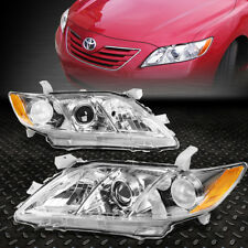 FOR 2007-2009 TOYOTA CAMRY CHROME HOUSING AMBER CORNER PROJECTOR HEADLIGHT/LAMP