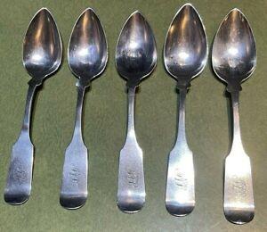 J Adam American Colonial Period Coin Silver * Set Of 5 Spoons * Alexandria, VA