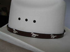 Leather Hat Band #LC-22H - Running Horses Conchos & Buckle - Brown