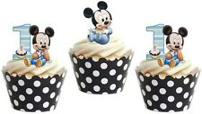 16 x  1ST BIRTHDAY BOY MICKEY MOUSE Edible cake party toppers STAND UPS