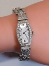 "GORGEOUS Antique 17 Jewel Platinum 5 Ct Diamond ABRA Ladies 6.25"" Watch 168 Dia"