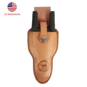 Tourbon Vintage Real Leather Sheath Pliers Holder Scissors Pruner Belt Pouch US