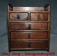 """10.8 """"vieux chine Huanghuali bois dynastie 5 tiroirs armoire meubles classiques"""