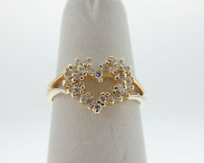 HEART 1/4ct Genuine Diamonds Solid 14k Yellow Gold Ring FREE Sizing