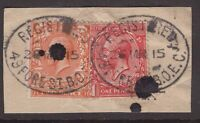 Great Britain registered oval cancel 1915 x 2 on KGV piece