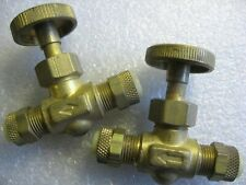 Lot of 2)  Brass Compression Tubing Needle Valves for 1/4