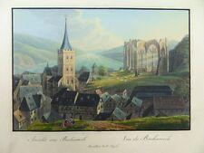 BACHARACH RHEIN ANSICHT ALTKOL. AQUATINTA 1830 WEBER JÃœGEL