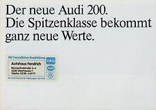 Audi 200 Prospekt 1983 8/83 Autoprospekt Katalog brochure prospectus broschyr