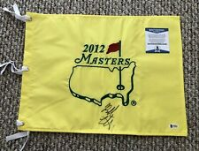Bubba Watson Signed 2012 Augusta National Masters Pin Flag Beckett Certified
