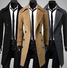 NEW Mens Fashion Double Breasted Long Overcoat Trench Coat Jacket Outwear Winter