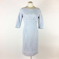 Vintage 1950s Blue Lace Dress Straight Wiggle 3/4 Sleeve Cocktail Rockabilly