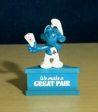 Smurf A Gram Great Pair Vintage Smurfs Figure PVC Toy Poker Cards Figurine Stand