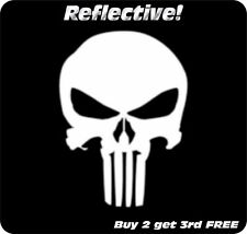 PUNISHER SKULL WHITE REFLECTIVE Decal Sticker Motorcycle Helmet Truck SUV 4""