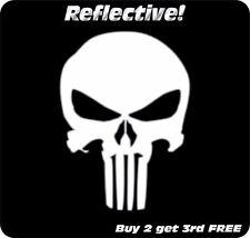 Punisher Skull White Reflective Decal Sticker Motorcycle Helmet Truck Suv 4