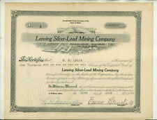 1916 LANSING SILVER LEAD MINING COMPANY IDAHO STOCK CERTIFICATE ISSUE #5