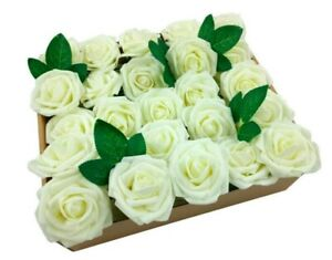 50pcs Real Touch Artificial Foam Roses Decoration DIY for Wedding Party Ivory