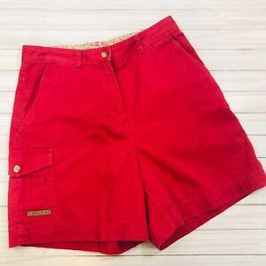 Lauren-67 Ralph Lauren Red Cargo Pocket Shorts SIZE 6 High Waisted Vintage RL67