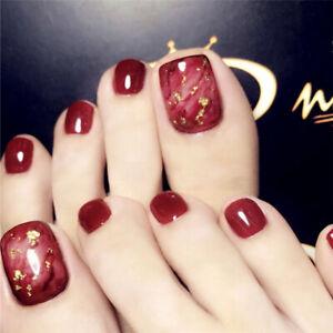 24pcs Red Glitter Fake Nails Full Cover Fashion False Toe Nails Pedicure DIY