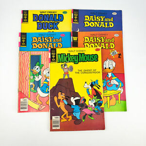 Vintage Dasiy & Donald and Mickey Mouse Comic Books Gold Key & Whitman Lot of 5
